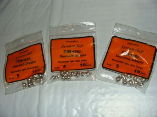 #5 Tin Split Shot Sinkers Tin-kers Stream Safe 10pc 3 package 10 per package