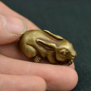 China-039-s-archaize-old-antique-pure-brass-rabbit-small-statue-pendent