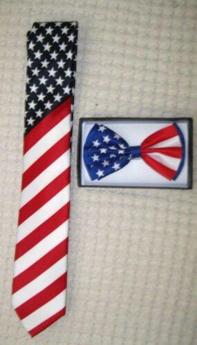 "US Flag American Flag 3/"" Neck Tie /& US Patriotic Flag  Adjustable Bow Tie-V3"