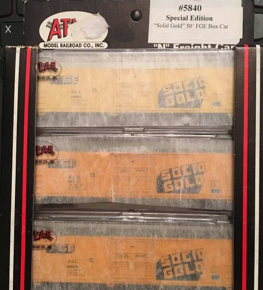N Scale Atlas Special Edition Solid gold 50' FGE Box Car (3 Car Set)