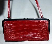 Ann Taylor Cranberry Red Croc Embossed Faux Leather Handbag with Black Lining