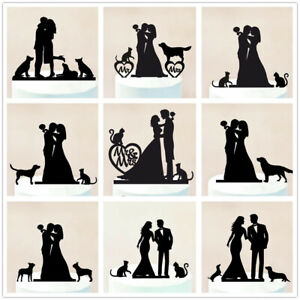 Family-Bride-and-Groom-with-Dog-Puppy-Cat-Wedding-Cake-Topper-Party-Decorations