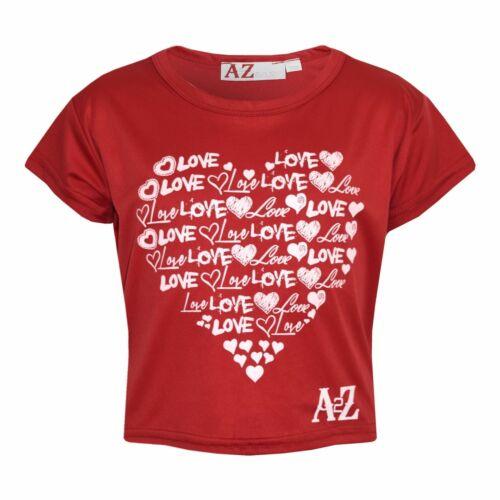 Girls Top Kids Love Print Stylish Fahsion Trendy T Shirt Crop Top Age 7-13 Years