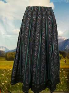 5b5030bc0078 Details zu Trachtenrock schwarz Baumwolle Blumen Streifen schöne tolle  Trachten Rock Gr.44