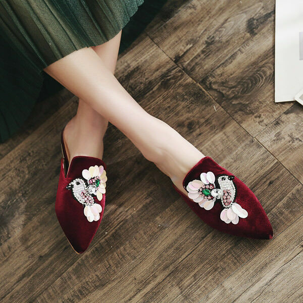 Ciabatte eleganti sabot  rojo velluto basse eleganti eleganti eleganti comodi simil pelle 9917  tienda en linea
