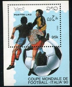 LAOS-STAMP-1989-WORLD-CUP-FOOTBALL-ITALY-1990-1st-M-S-SHEET