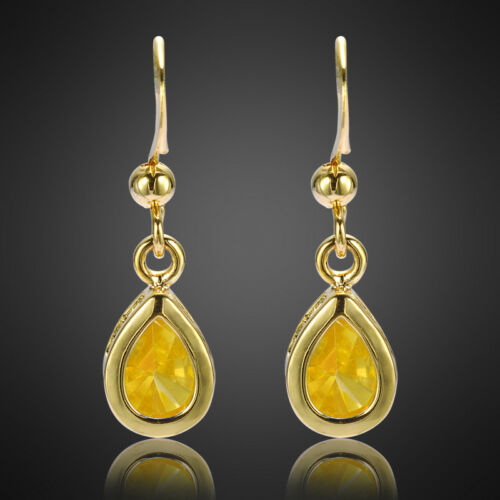 Fashion Jewelry Lady Jaune Citrine Or Jaune Plaqué Dangle Boucles d/'Oreilles Pendantes Cadeau