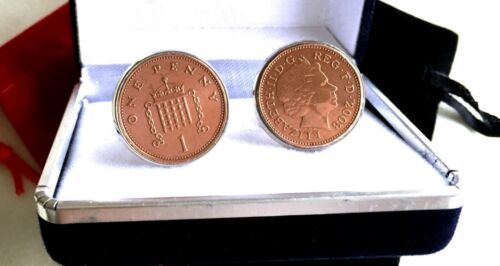 PERFECT GIFT ONE NEW PENNY COINS IN CUFFLINKS YEARS 1971-2016 AVAILABLE      rjz