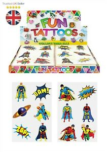 SUPERHERO-KIDS-TEMPORARY-TATTOOS-Assorted-Designs-Party-Bag-Filler-Loot-BOYS