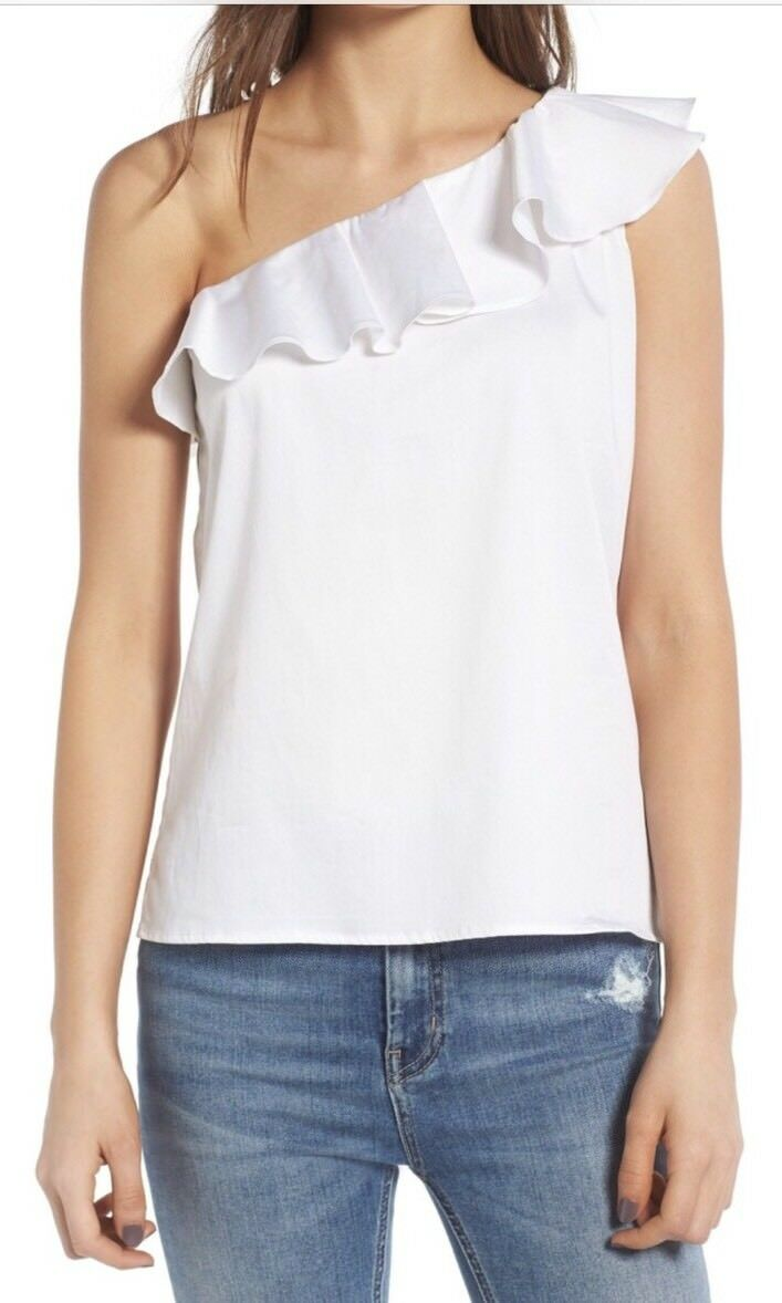 Adriano Goldschmied The Risa One Shoulder Ruffle Top Größe M