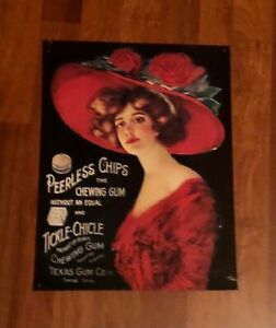 """Vintage Peerless Chips """"The Chewing Gum Without  Equal"""" Metal/Tin Advertising Si"""
