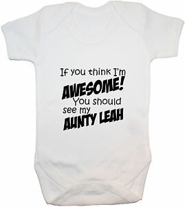 Personalised-Awesome-Aunty-Baby-Bodysuit-Romper-T-Shirt-0-24m-Acce-Gift-Boy-Girl