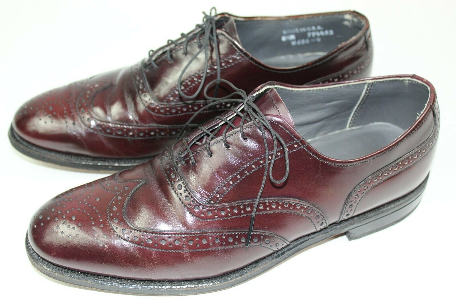 Dexter mens dress shoes full brogue wingtip oxfords size 8.5 burgundy leather