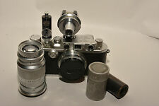 LEICA IIIb 1939 OUTFIT W/ 2 LENSES, TIMER & FINDER NEEDS HELP BUT ALL WORKING