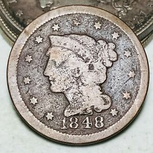 1848 Large Cent Matron Braided Hair 1C Ungraded Good Date US Copper Coin CC6679