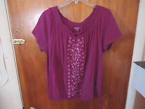 Womens-Croft-amp-Barrow-Size-XL-Purple-Top-With-Design-amp-Draw-String-034-BEAUTIFUL-T