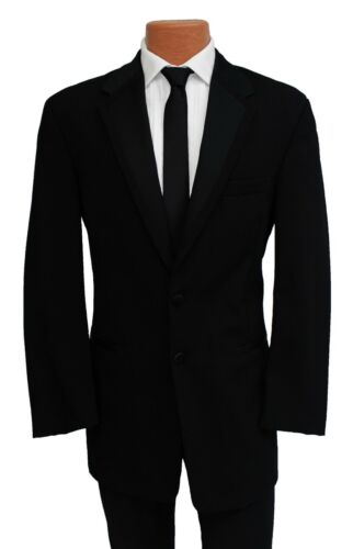 44R Perry Ellis Black Fashion Tuxedo Jacket /& Pant Suit for Prom Formal Wedding
