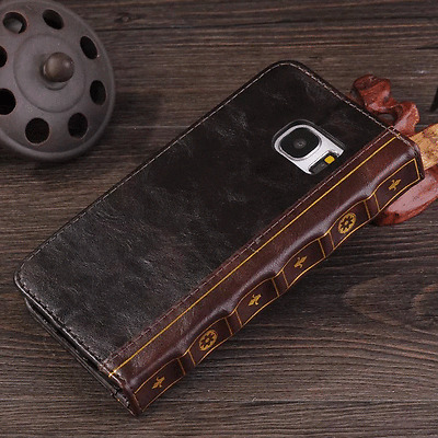 Vintage Retro Book Leather Card Slots Cover Skin Case For Samsung Galaxy S7 edge