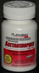 PlusPharma-Acetaminophen-500mg-100ct-Caplets-Expiration-Date-10-2020