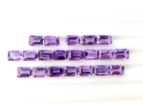 11 Ct 20 Pieces Natural Amethyst Octagon Cut Lot Loose Gemstone 6 X 4 MM C4249