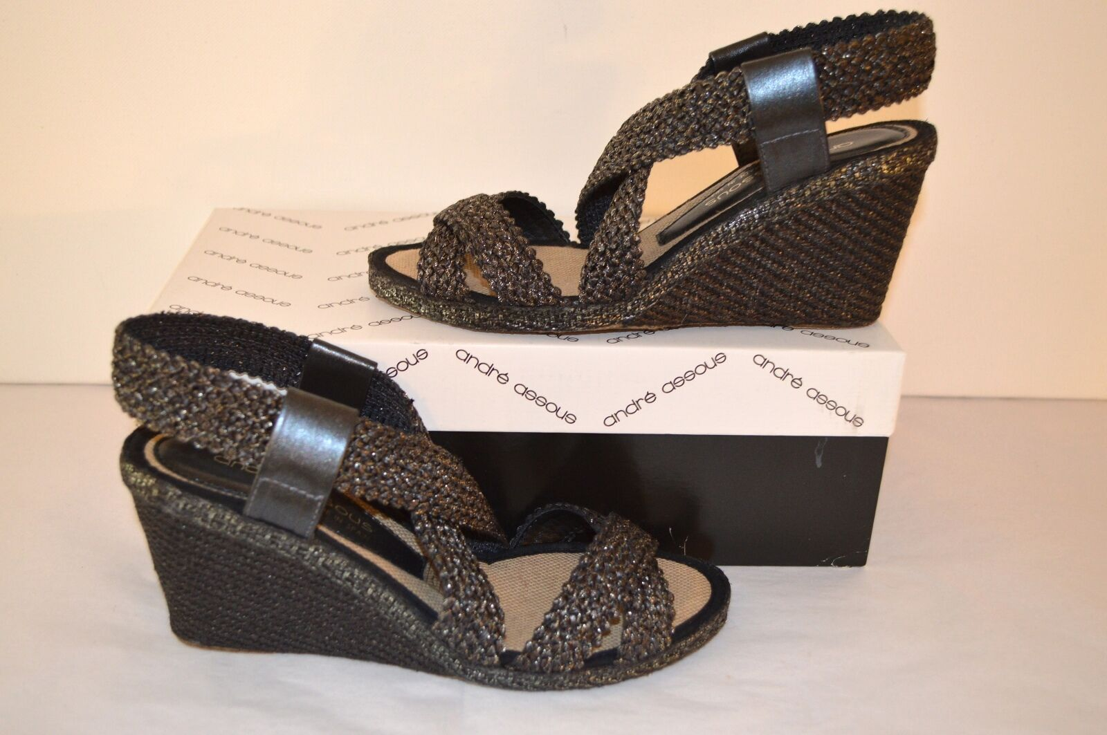 New New New  162 Andre Assous Patty-A Black Platinum Flake Espadrille Wedge Sandal 209df0