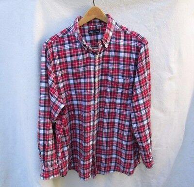 JA John Ashford Plaid Cotton Flannel Button Down Shirt Top Mens XL
