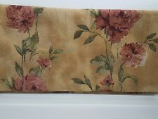 JC Penney 2 Lisette Dark Beige Burgundy Green Floral 50x90 Panels Curtains