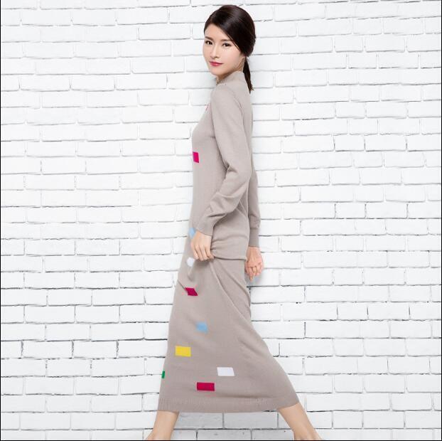 Damen Mixed Farbe Slim Fit Kleid Langarm Maxi Warm Gestrickt Lässige Kleid 2XL