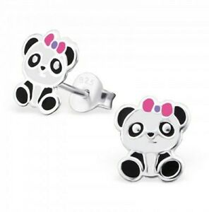 Childrens-Girls-Sterling-Silver-Panda-Pink-Bow-Stud-Earrings-Boxed