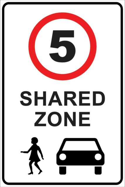 (4 X SIGNS) - SHARED SPEED ZONE LIMIT 5 KM/H - METAL SIGN - 300 X 225MM