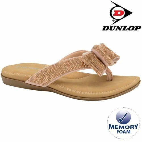 Ladies Memory Foam Low Wedge Walking Toe Post Summer Strappy Flip Flop Sandals