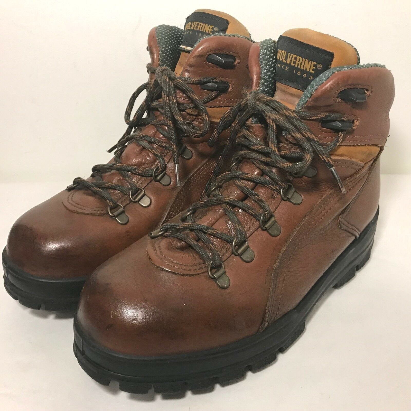 Lady Wolverine WO3979 Durashock Work Boots Womens Sz 9 M Brown Leather Steel Toe