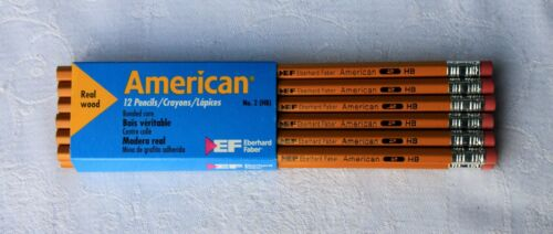 12 Vintage Eberhard Faber American No.2HB Pencils Made in USA ??