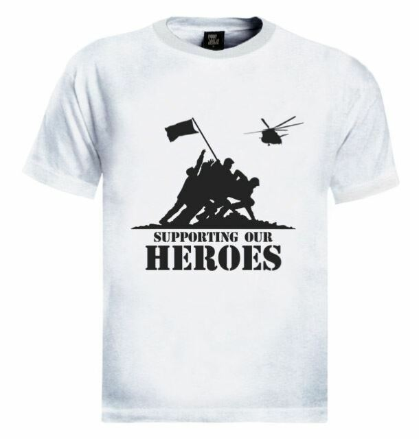 Supporting The Heros USA Patriotic Military Army T-Shirt Soldiers Support Troops