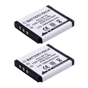 2X Batteries 1500Mah for Fujifilm Np-50 for Pentax D-Li68 Q10 Kodak Klic-7004