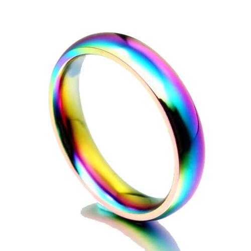 Size 5-13 Silver//Gold//Rainbow Titanium Steel Band Men Women/'s Wedding Party Ring