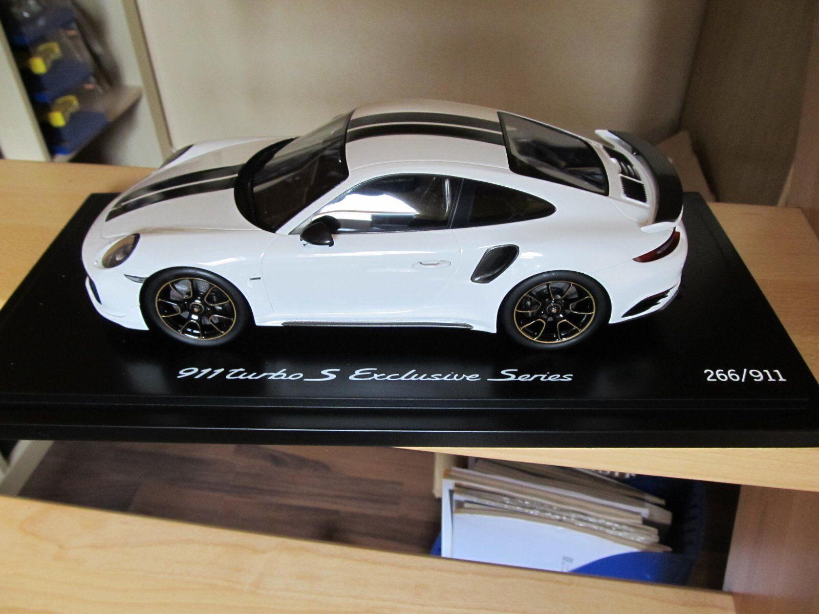 Spark WAP0219030H - Porsche 911 (991) Turbo S weiß schwarz m. Vitrine 1 18    Lebendige Form