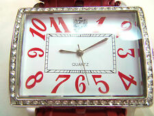 PAOLO GUCCI LARGE RED & WHITE FACE RED LEATHER BAND WATCH UNWORN NICE