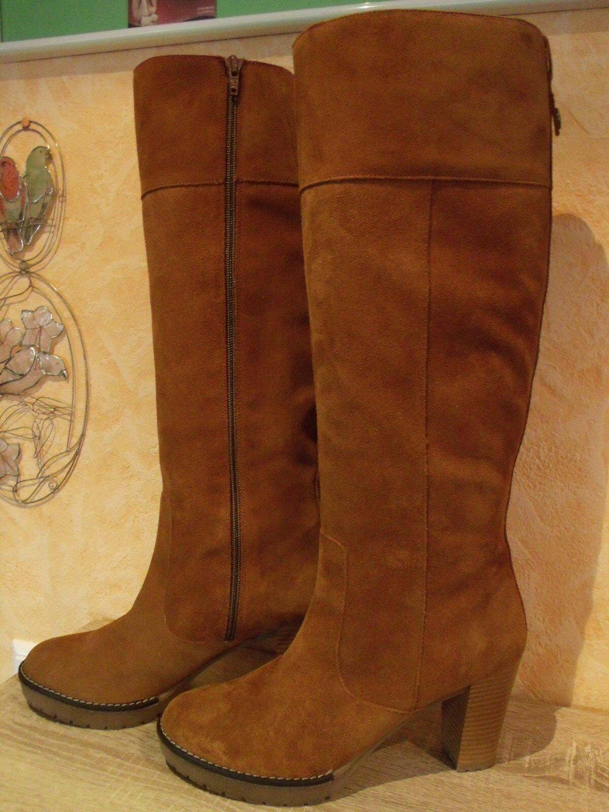 Hoher femininer Stiefel mit RV NEU Gr. & 41 F in cognac & Gr. weichem Veloursleder b5d7af