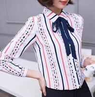 Women Lady Bow Striped Long Sleeve Casual Chiffon Blouse Career OL Shirt Tops