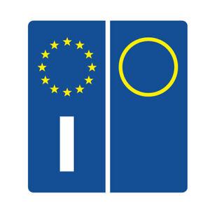 TARGA-AUTO-PVC-2-ADESIVI-OMOLOGATI-ITALIA-SIMBOLI-EUROPEA-STELLINE-I-ADESIVO-so