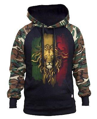 New Men/'s Rasta Beanie Lion Camo Raglan Sweatshirt Jamaican Jamaica Weed Blunt
