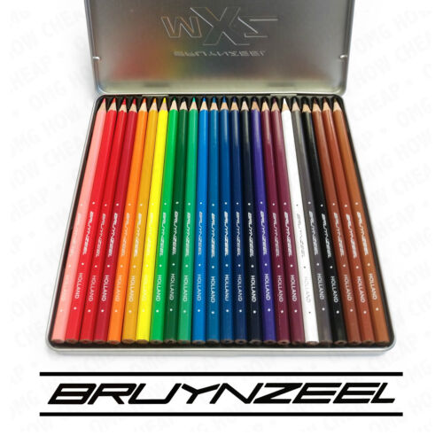 24 Colouring Pencils Bruynzeel MXZ In a Silver Metal Tin