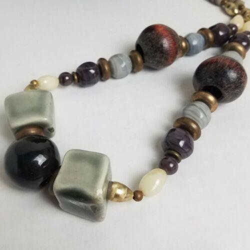 Vintage Chunky Black Red Gray Mandala Flower Ceramic Bead Statement Necklace D51