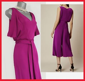141e99fabe8 Karen Millen Magenta Jersey Wide Leg Draped Sleeves V Neck Jumpsuit ...