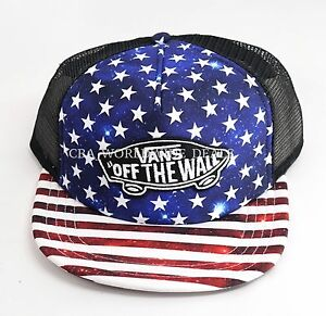a296e18d967 Vans Off the Wall Classic Patch Trucker Snapback Hat Cap - Americana ...