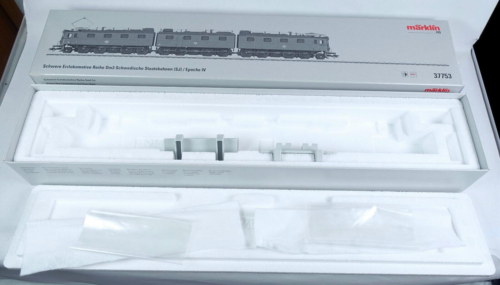 Märklin cartón vacía 37753 e-Lok mineral Lok serie dm3 SJ mfx digital OVP caja