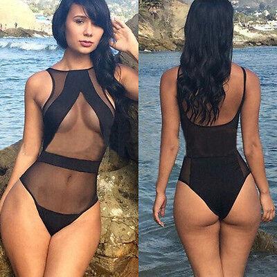 2015 Sexy Mesh One-Piece Swimsuit Monokini High Waist Swimwear Bandage Bikini