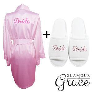 Pink Robe Slipper Set Bridal Bride Bridesmaid Wedding Satin Robe ...