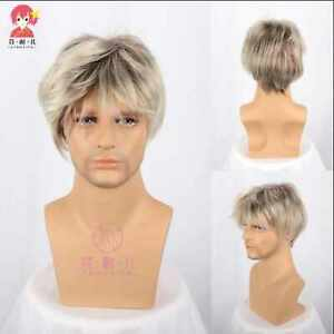 Gradient white gold fluffyhair short Inclined bang cosplay Wig wigs STANDARD